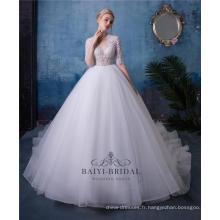 Robe de mariée perlée à manches courtes col en V Sexy HA601