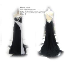 2016 Abendkleid in China Lack Brautjungfer Kleider ärmellose Festzug Party Kleid Strass schwarze Brautjungfer Kleider