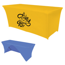 Trade Show Printed Logo Polyester Waterproof  Fitted Stretch Spandex Table Cover Tablecloths For Christmas Party