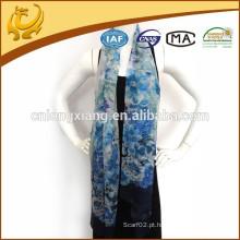 65 * 180 tamanho longo fino 100% lenço de seda, fábrica China Wholesale Chiffon impresso xale