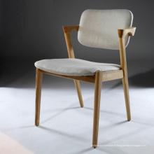 Nouveau arrivant tissu canapé chaise à manger avec des jambes en bois