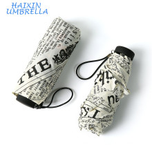 Pongee Fabric British Style Full Custom Print 5 Doble manual de peso ligero Mini Umbrella Newspaper Pattern