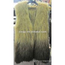 chaleco de piel de mapache real chaleco sin mangas teñido diseño de moda de color