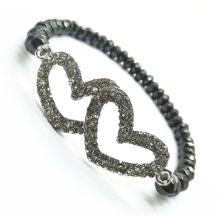 Diamante Сплав двойного сердца в середине и гематит 6 мм граненых абак бусы Растянуть браслет Hematite