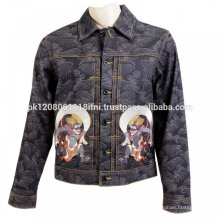 printed and embroidered jeans jacket make on your choice custom made