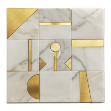 Soulscrafts Gold Brass Carrara Marble Blend Waterjet Mosaic Tile for Wall Decoration