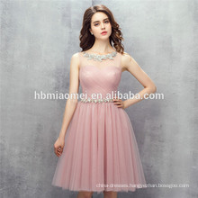 2017 new design hot sell solid color women party dress mini pink bridesmaid dresses for wedding with soft sash