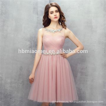2017 nouveau design vente chaude solide couleur femmes robe de soirée mini robes de demoiselle d'honneur rose pour le mariage avec ceinture souple