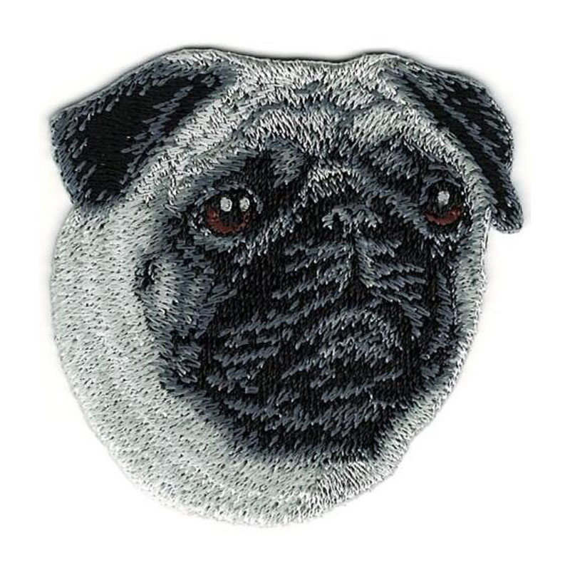 Pug Dog Breed Portrait Embroidery Patch