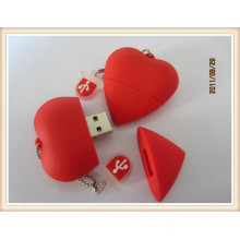 Red Heart Shape USB Flash Drive with PVC Material (EP035)