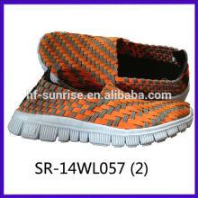 2014 nuevos estilos SR-14WL057 mezclan los zapatos tejidos mano de la correa de los colores