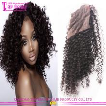 Top qualité en gros 100 % cheveux humains brésiliens partie libre Kinky Curly fermeture