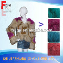 top quality women fur garment dyed color knitted raccoon coat