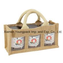 Promotional Extra Small 3 Window Natural Jute Jar Gift Bag