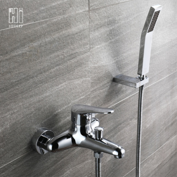 HIDEEP Wall Mount Full Copper Bathroom Bathtub Faucet