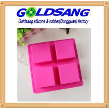 Molde de jabón de 4 moldes de silicona cuadrada y molde de pastel
