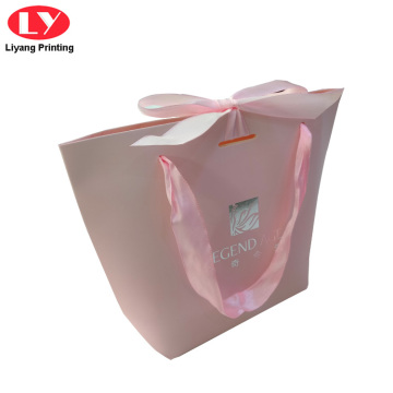 Logo Custom Baby Gift Paper Bag Silk Ribbon