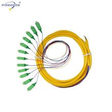 Fibre optique de fibre optique de tresse de fibre de queue de tresse raccordée 12cores de PC, mode simple