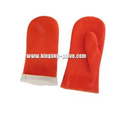 Fluoreszierende Warnfarbe PVC Fingerlose Handschuh-5117