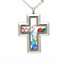 Mode cristal shaker bouteille en verre croix médaillon pendentif bijoux