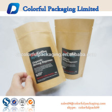 Zipper top kraft&aluminum foil pouch/Foil lined kraft paper packaging bags with tear notch and hanger hole