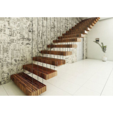 Ступени из цельного дерева из орехового дерева Крытая плавающая лестница