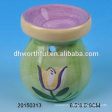 Зеленая домашняя керамическая горелка с цветочным дизайном