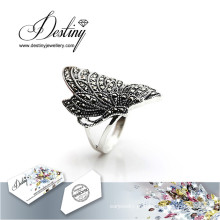 Destino joias cristal de Swarovski anel de borboleta