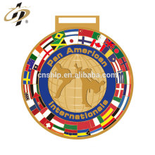 Custom gold silver flag designs metal karate sports trophy medals