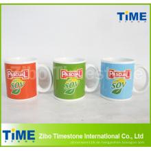 Kundenspezifischer Druck-Logo-Steingut-keramischer Werbungs-Becher