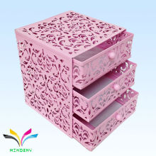China fabricación de malla de metal mini 3 capas de cajón rosa caja de almacenamiento