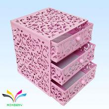 China manufacture metal mesh mini 3 tiers pink drawer storage box