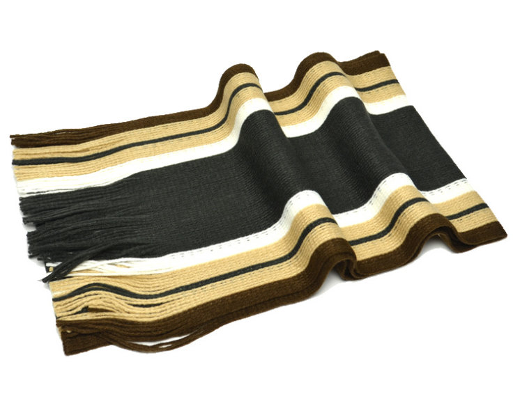 Vertical Stripes Knitting Scarf Brown