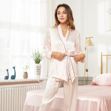 Conjunto Robe de Seda Pijama Pijama Com Cinto