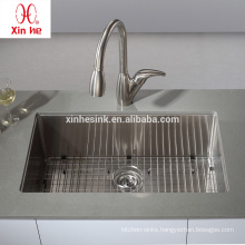 North America Hot Sale 32 Inch Undermount Single Bowl 16 Gauge Handmade Stainless Steel Kitchen Sink with Grid Optional