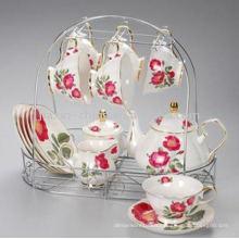 Service à thé en porcelaine de 15 pièces avec support en métal JXSK001