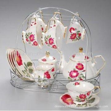 15 pcs porcelain tea set with metal rack JXSK001