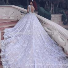 2017 vendimia musulmanes tren largo de la catedral de la manga más los vestidos de boda hinchados del vestido de bola del cordón del tamaño MW970