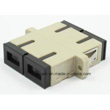 SC / PC Adaptador de fibra óptica dúplex multimodo con brida