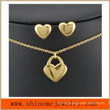Shineme Schmucksachen 316L Edelstahl-Art- und Weisegold überzogene Halskette mit Ohr-Bolzen (SSNL2646)