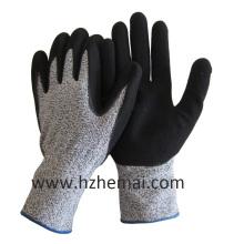 Hppe Liner Handschuhe Coated Sandy Nitril Cut Resistant Wok Handschuh
