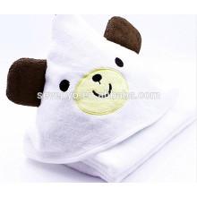 100% Bambus Luxuriöses Kapuzen-Badetuch für Babys - Weich, Plüsch, Saugfähig und Atmungsaktiv - Extra Large - süßer Bär - Weiß