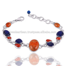 Sponge Coral And Coral With Lapis Gemstone 925 Sterling Silver Bracelet