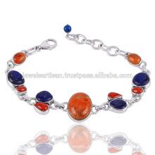 Coral e coral de esponja com pulseira de prata esterlina 936 de lapis Gemstone