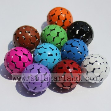 Round Metal Carved Hollow Spacer Charms Beads For Jewelry Making