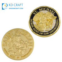 High quality custom metal zinc alloy embossed 3D enamel patron saint of law enforcement st michael challenge coin for souvenir