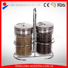 Vente en gros 2PC Clear Glass Spice Jar Set avec Chrome Stand