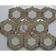 Nested Glass and Metal Mixed Stainless Steel Hexagon Mosaic (CFM998)