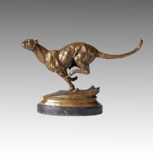 Animal Bronze Sculpture Leopard Carving Deco Brass Statue Tpal-078
