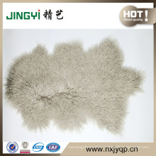 Wholesale Long Hait Curly Natural Shape Tibetan Sheep Skin